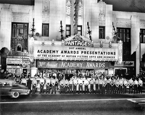 The RKO Pantages Theatre hosted many Oscar ceremonies. The 31st Academy Awards ceremony, held on April 6, 1959, ended 20 minutes early, after producer Jerry Wald cut numbers from the show to make sure it ran on time. Host Jerry Lewis was left to fill up the time.