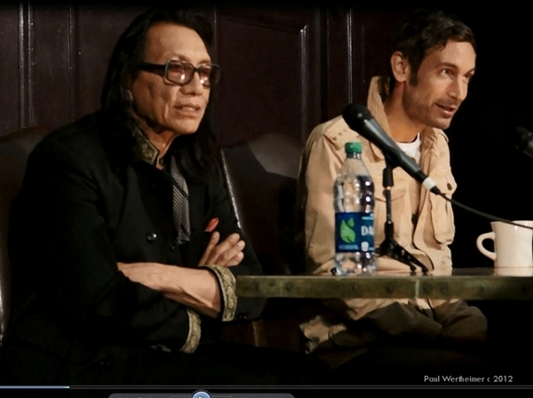 Rodriguez and Malik Bendjelloul at the Los Angeles press conference in 2012.