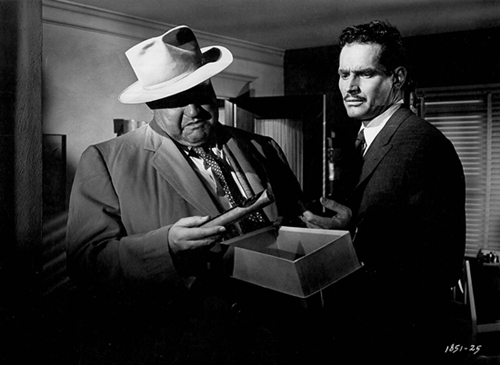 "Orson Welles and Charlton Heston lock horns in ""Touch of Evil."""