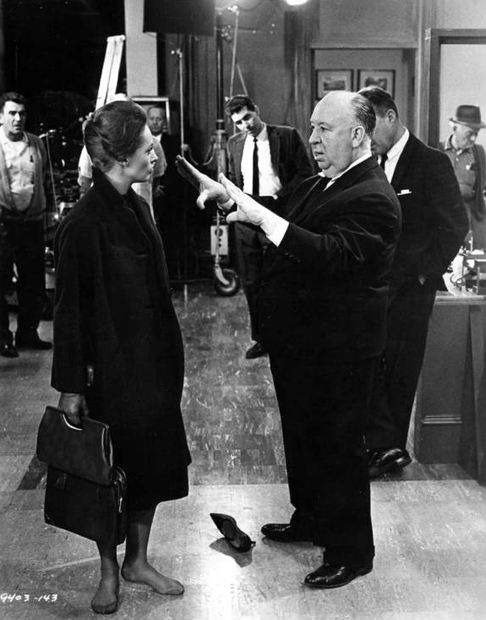Tippi Hedren gets direction from Hitch.