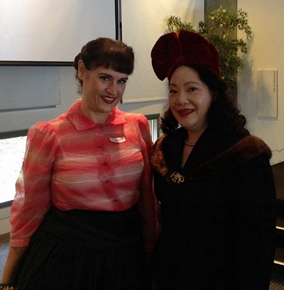Margot Gerber and a fellow retro enthusiast at the Skirball Cultural Center.
